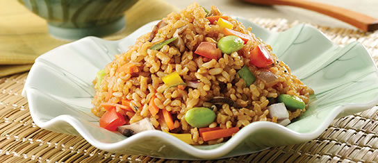 Plate of foodservice Amoy Asian fried Rice in a restaurant setting